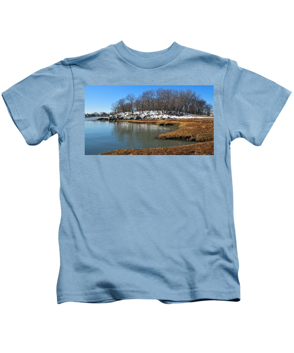 Moswetuset Hummock Quincy Ma Kids T-Shirt featuring the photograph Moswetuset Hummock In Winter by Bill Driscoll