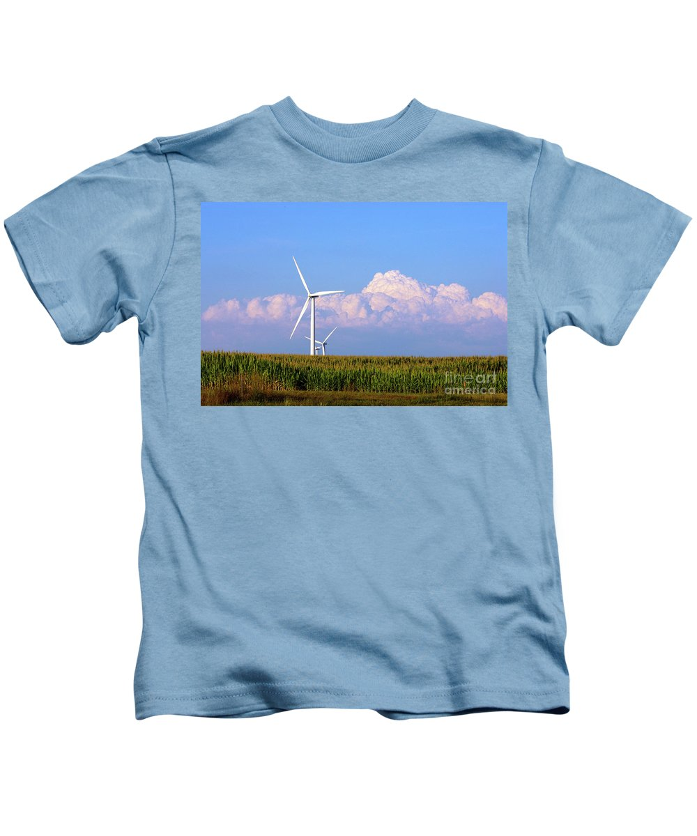 Art Kids T-Shirt featuring the photograph Mountain Clouds And Windmills by Alan Look