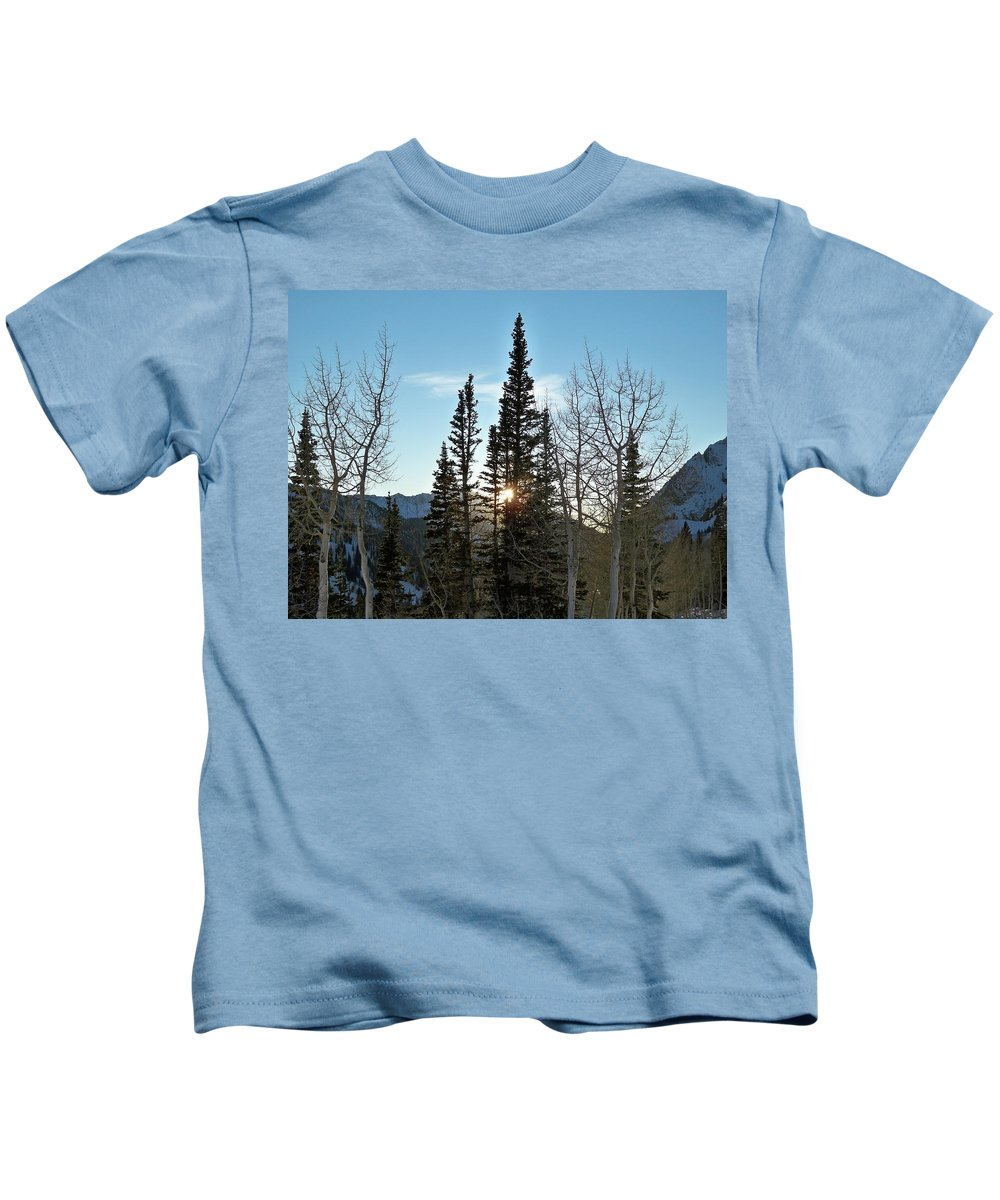 Rural Kids T-Shirt featuring the photograph Mountain Sunset by Michael Cuozzo