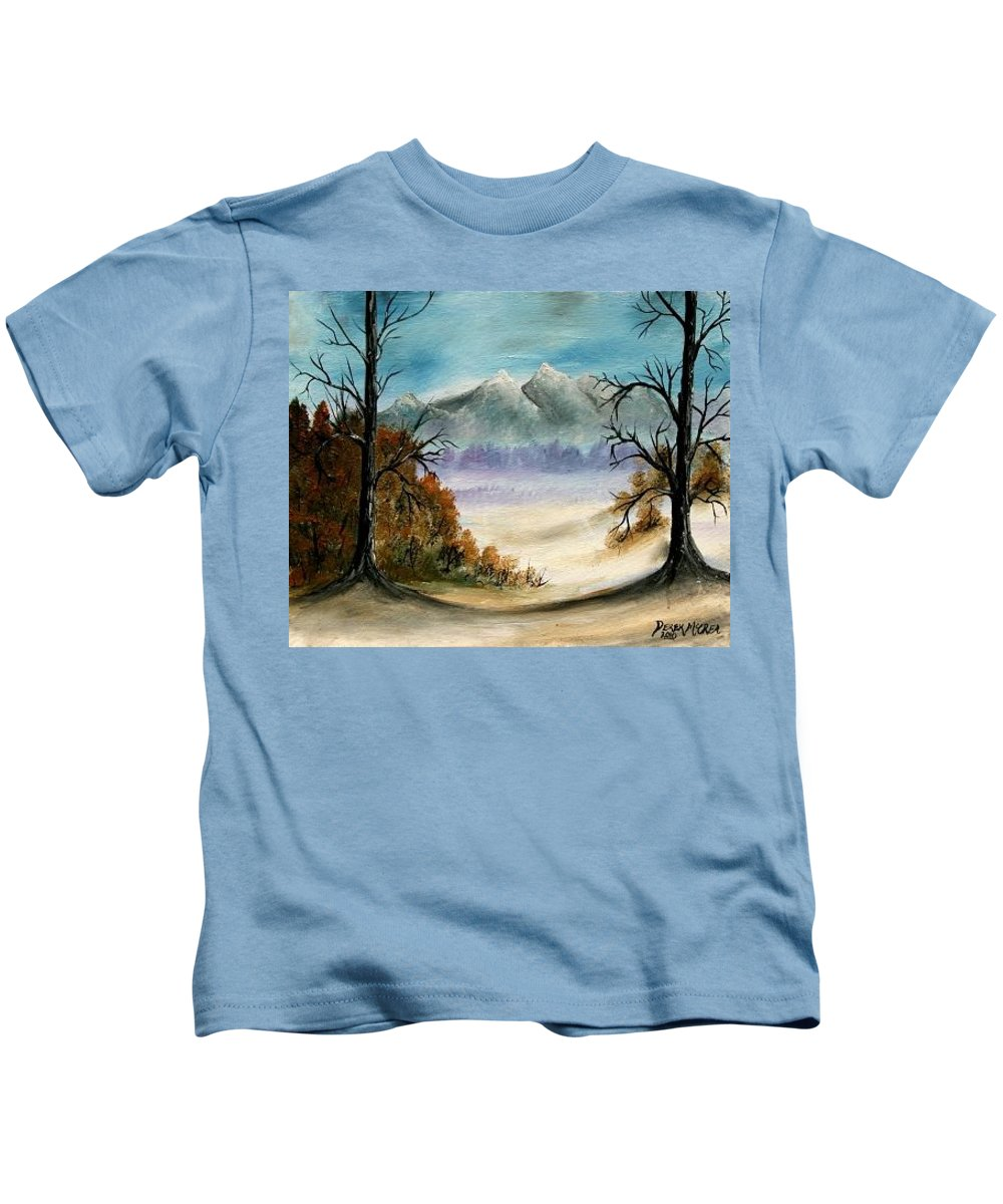 Mountains Kids T-Shirt featuring the painting Mountains Landscape Oil Painting by Derek Mccrea