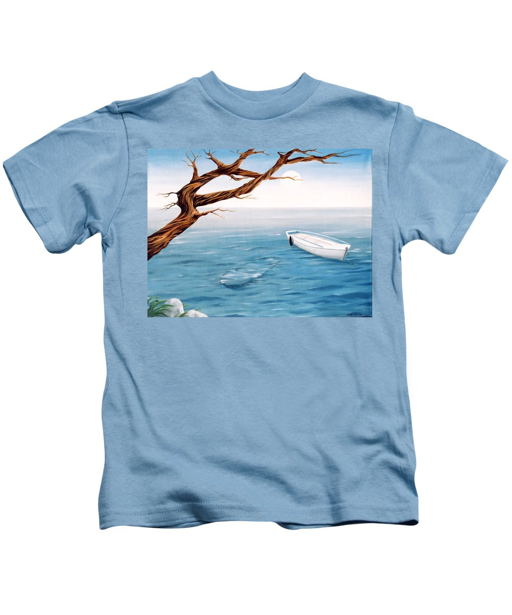 Seascape Prints Kids T-Shirt featuring the painting Mourning Spring by Mark Cawood