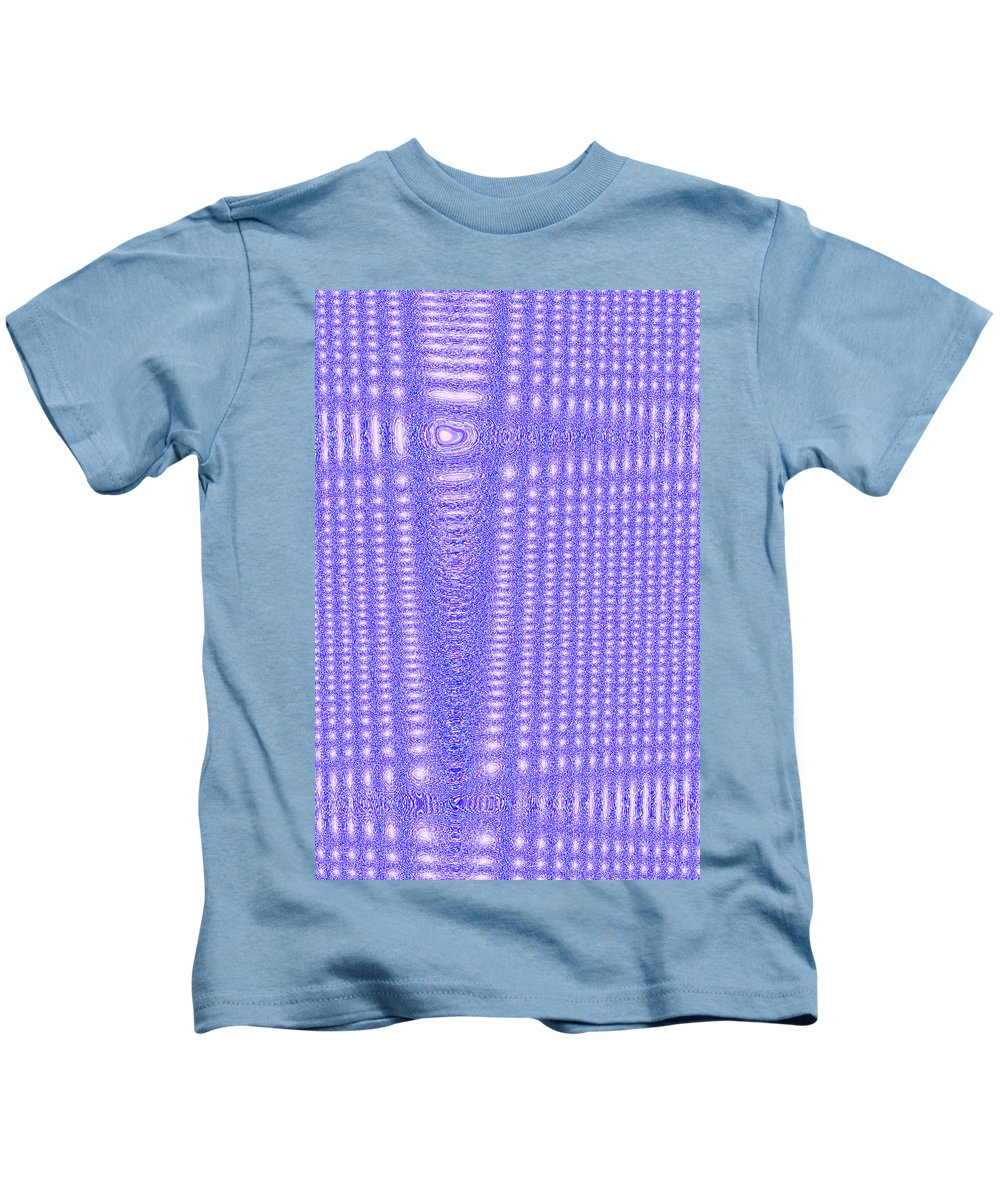 Moveonart! Digital Gallery Kids T-Shirt featuring the digital art Moveonart Blue Cross Cords by Jacob Kanduch