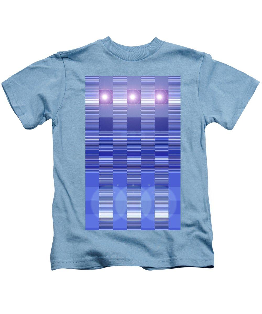 Moveonart! Digital Gallery Kids T-Shirt featuring the digital art Moveonart Blue Program One by Jacob Kanduch