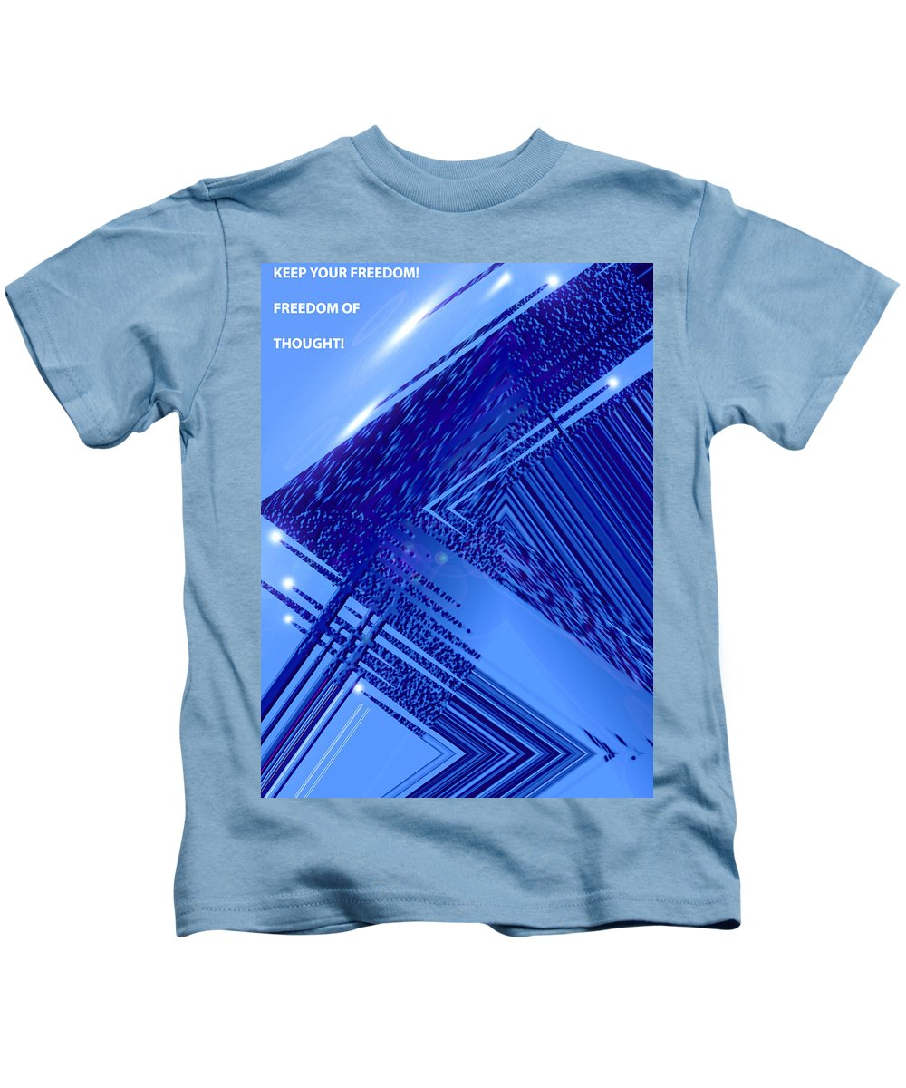 Moveonart! Digital Gallery Kids T-Shirt featuring the digital art Moveonart Freedom Of Thought Two by Jacob Kanduch
