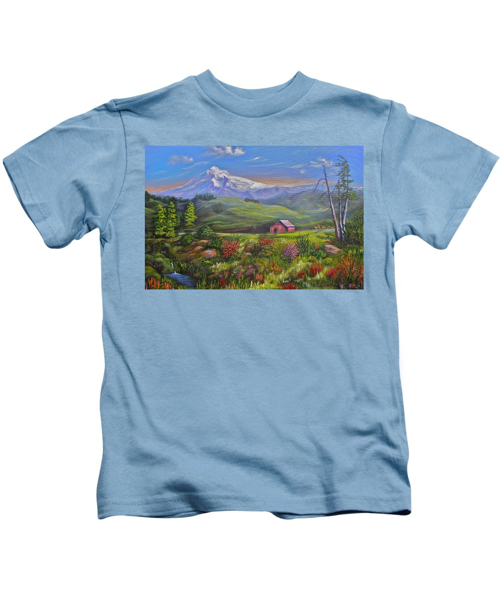 Mountain Kids T-Shirt featuring the painting Mt Hood Fantasy Farm by Mary Leiseth