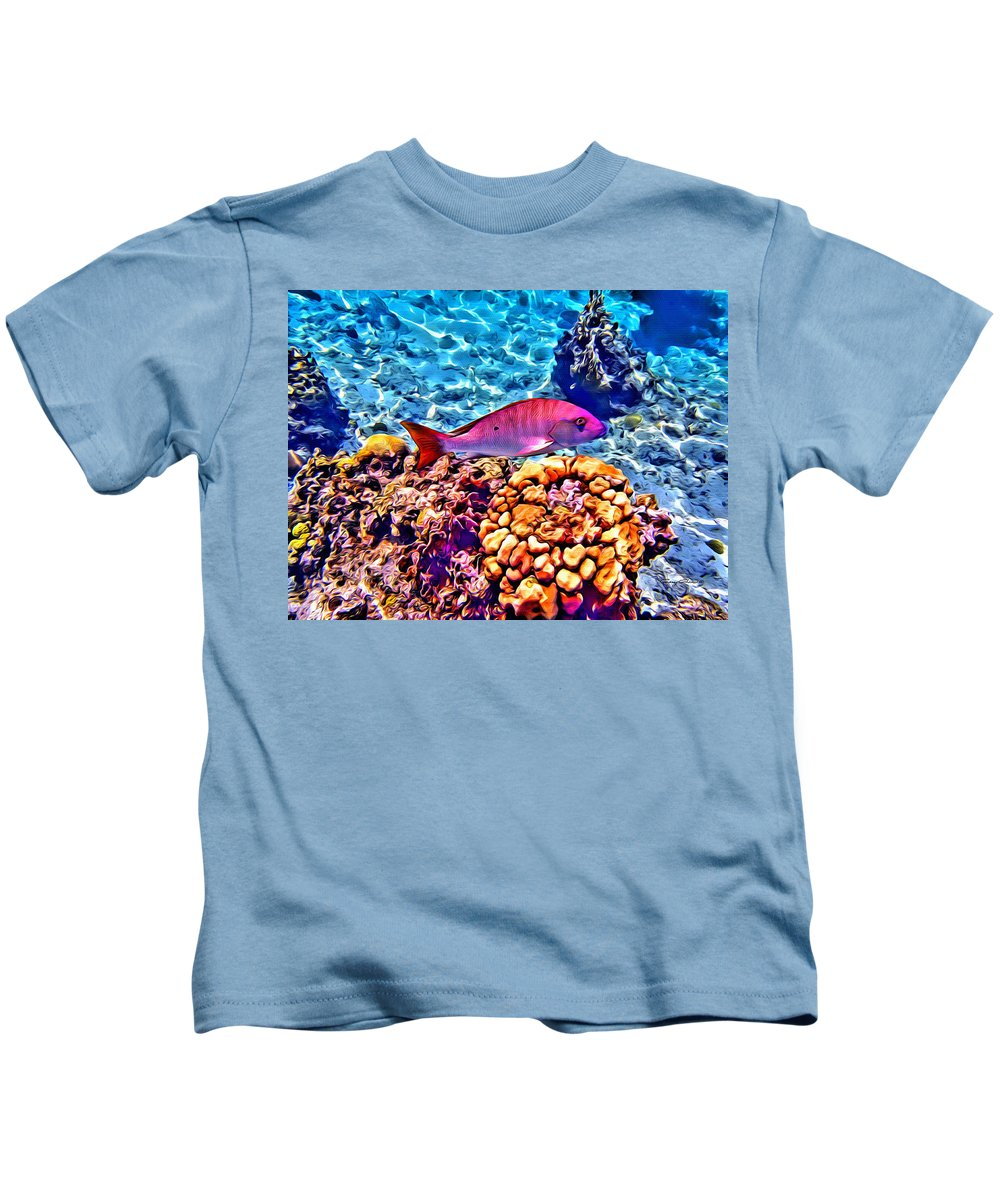 Fish Kids T-Shirt featuring the digital art Mutton Reef by Anthony C Chen