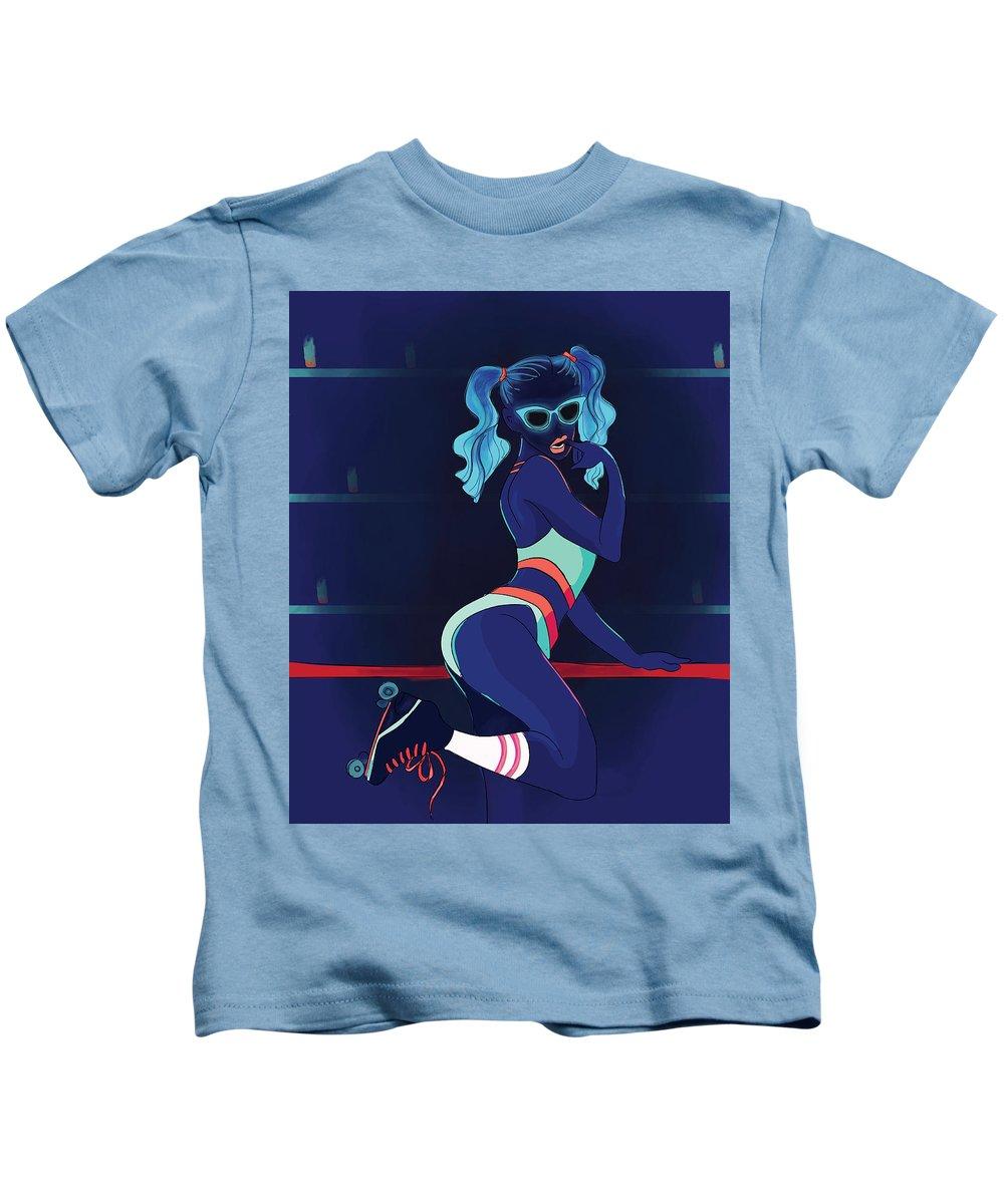 Flourescent Kids T-Shirt featuring the digital art My Kind Of Rollerblading by Stefani Kjuskikj