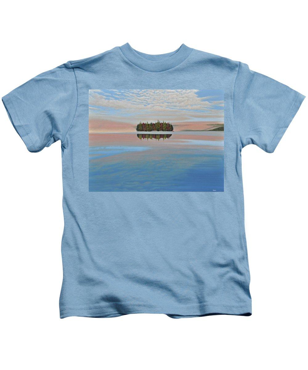Mcmichael Gallery Final Paintings Kids T-Shirt featuring the painting Mystic Island by Kenneth M Kirsch
