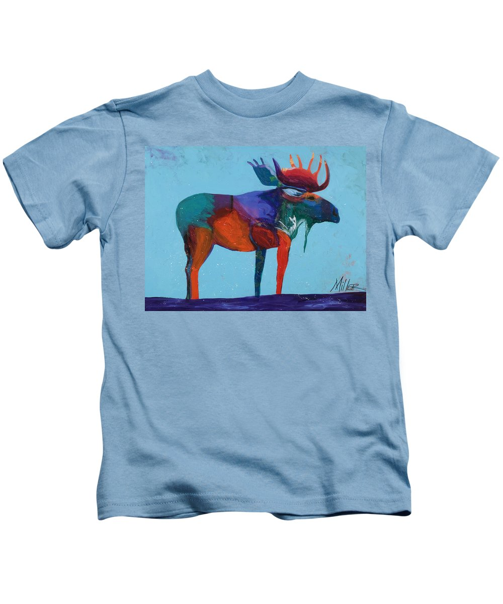 Moose Kids T-Shirt featuring the painting Mystic Moose by Tracy Miller