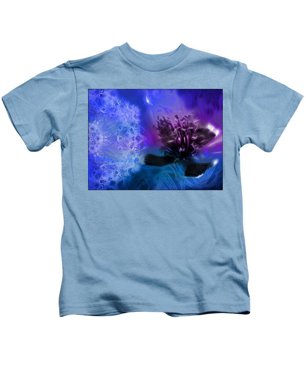 Mystic Poppy Blue Purple Kids T-Shirt featuring the photograph Mystic Poppy Blue Purple by Daniel Arrhakis