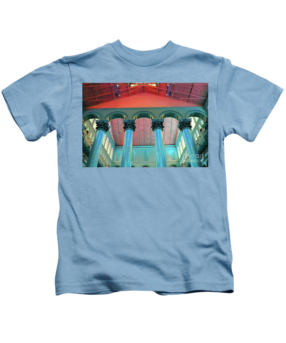 National Kids T-Shirt featuring the photograph National Columns Blue by Jost Houk