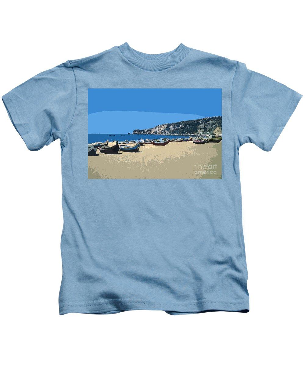 Nazara Portuguese Republic Portugal Sand Beach Beaches Water Landscape Landscapes Boat Boats Atlantic Ocean Ocean Sea Seas Digital Art Kids T-Shirt featuring the photograph Nazara Beach 4 by Bob Phillips