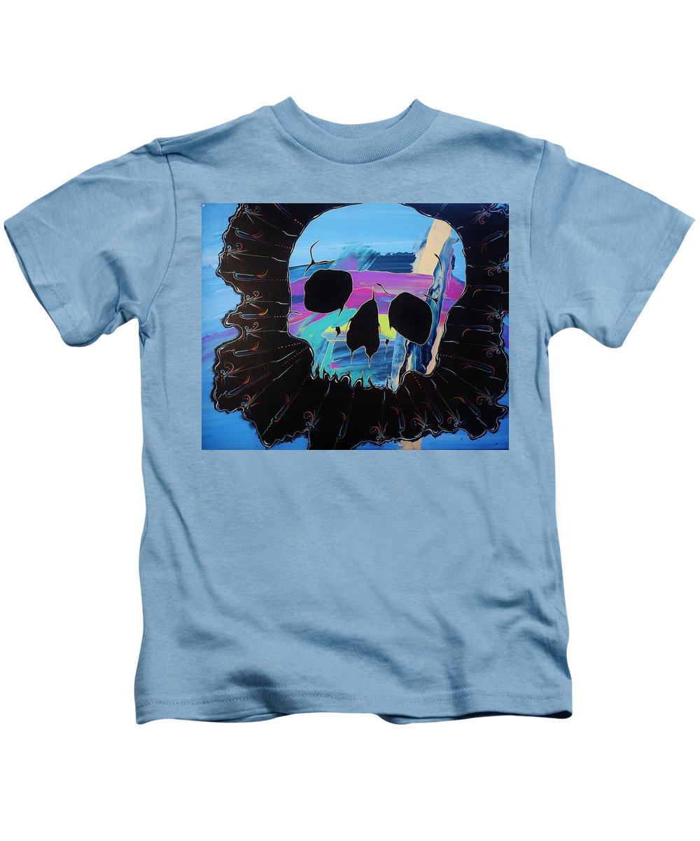 Skulls Kids T-Shirt featuring the painting Negative Relations 2 by David Buschemeyer