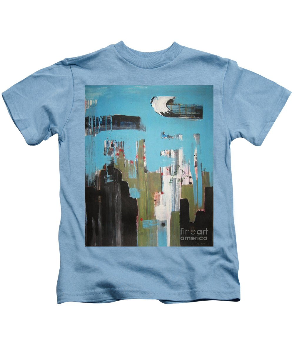 Abstract Paintings Kids T-Shirt featuring the painting Neglected Area by Seon-Jeong Kim