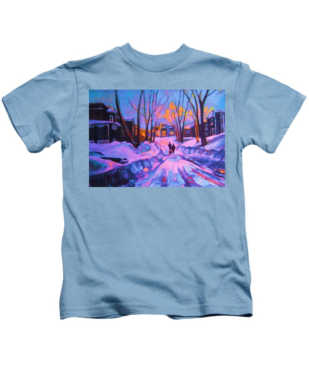 Winterscene Kids T-Shirt featuring the painting No Sidewalks by Carole Spandau