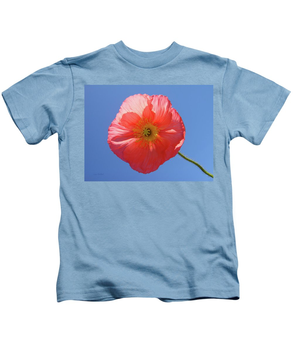 Poppy Kids T-Shirt featuring the photograph Nothing But Blue Skies by Donna Blackhall