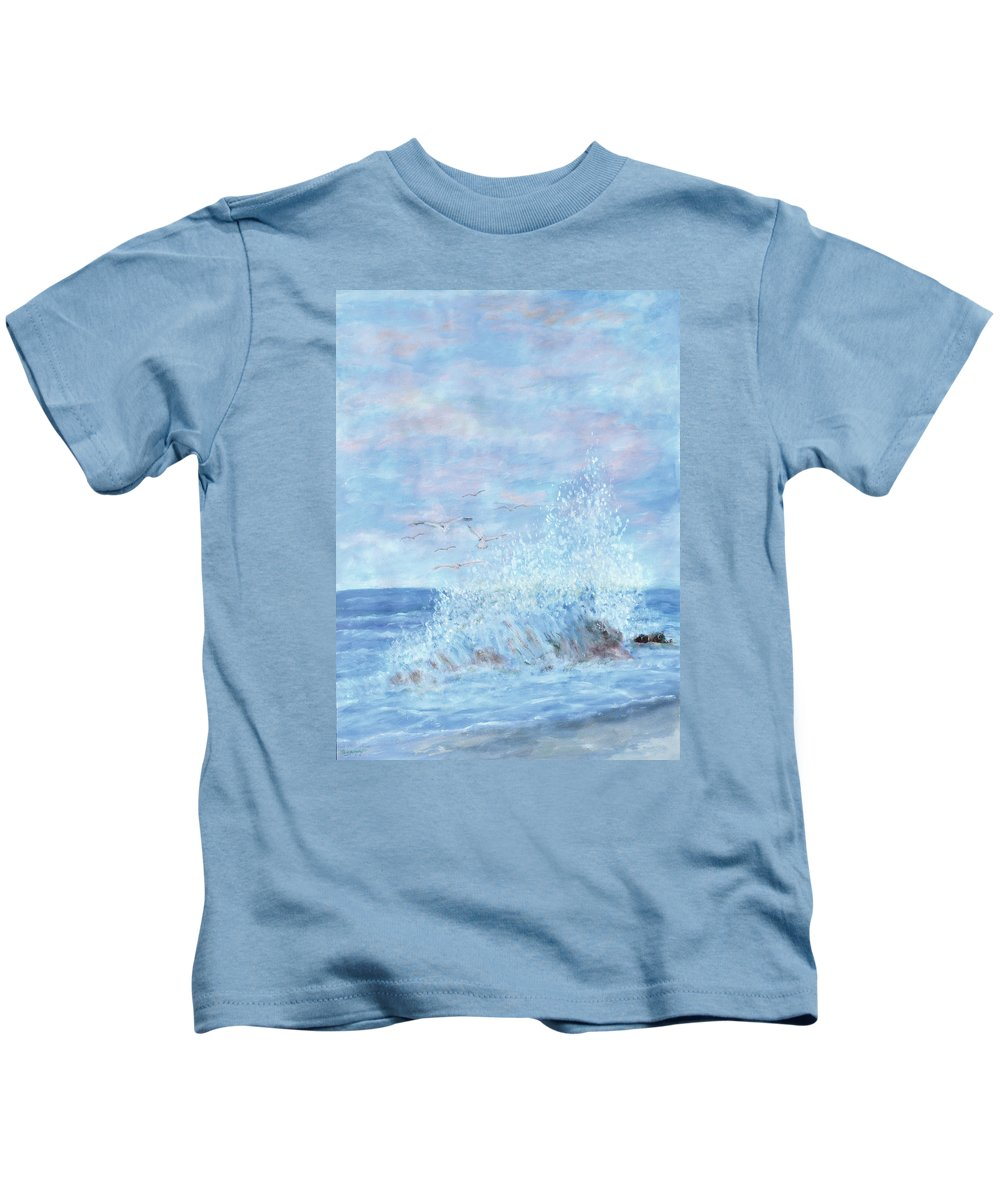 Gulls Kids T-Shirt featuring the painting Ocean Spray by Ben Kiger