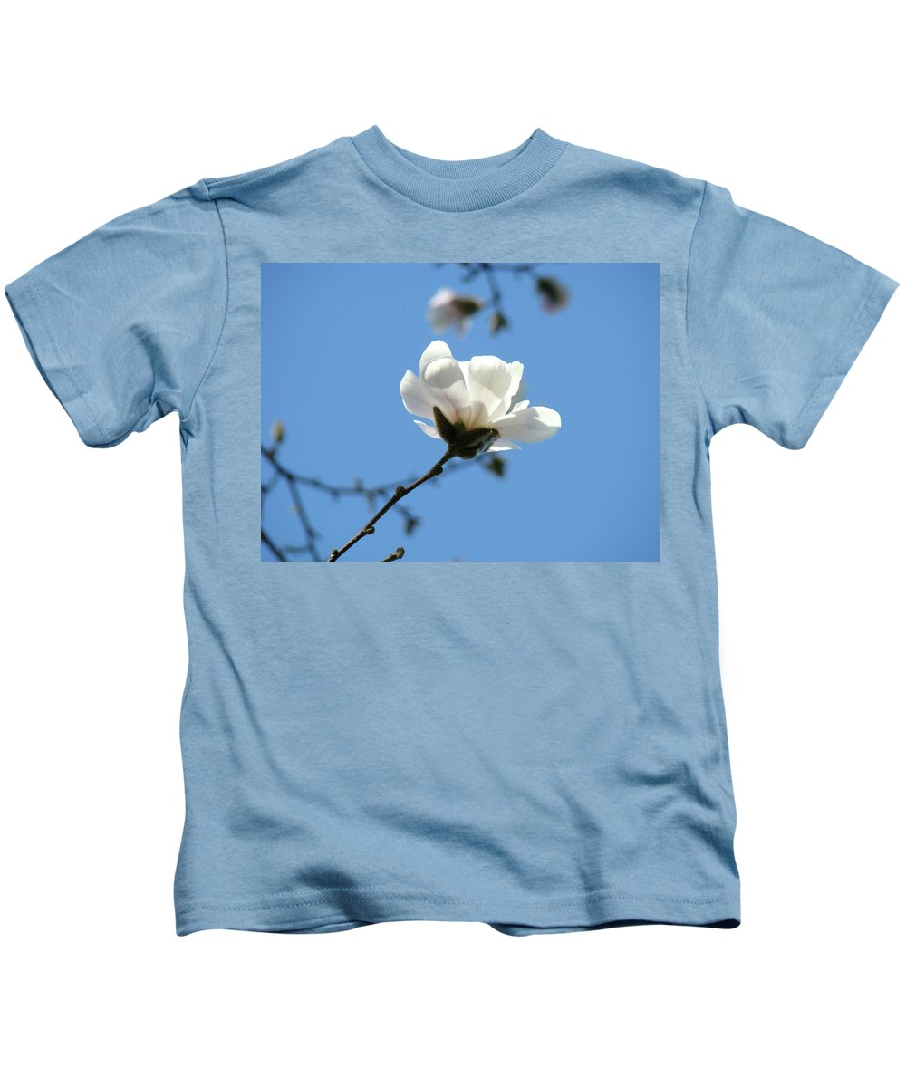 Office Kids T-Shirt featuring the photograph Office Artwork Prints Blue Sky White Magnolia Flower by Baslee Troutman
