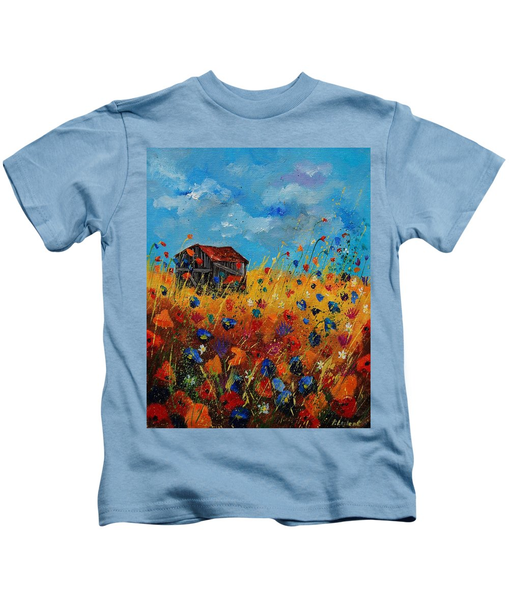 Flowers Kids T-Shirt featuring the painting Old Barn And Wild Flowers by Pol Ledent