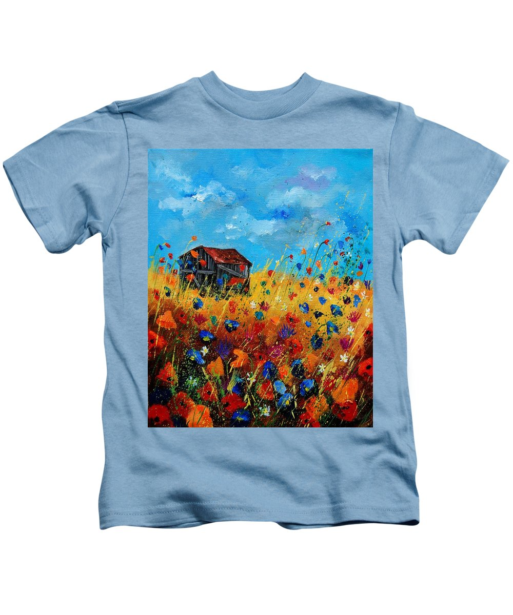 Poppies Kids T-Shirt featuring the painting Old Barn by Pol Ledent