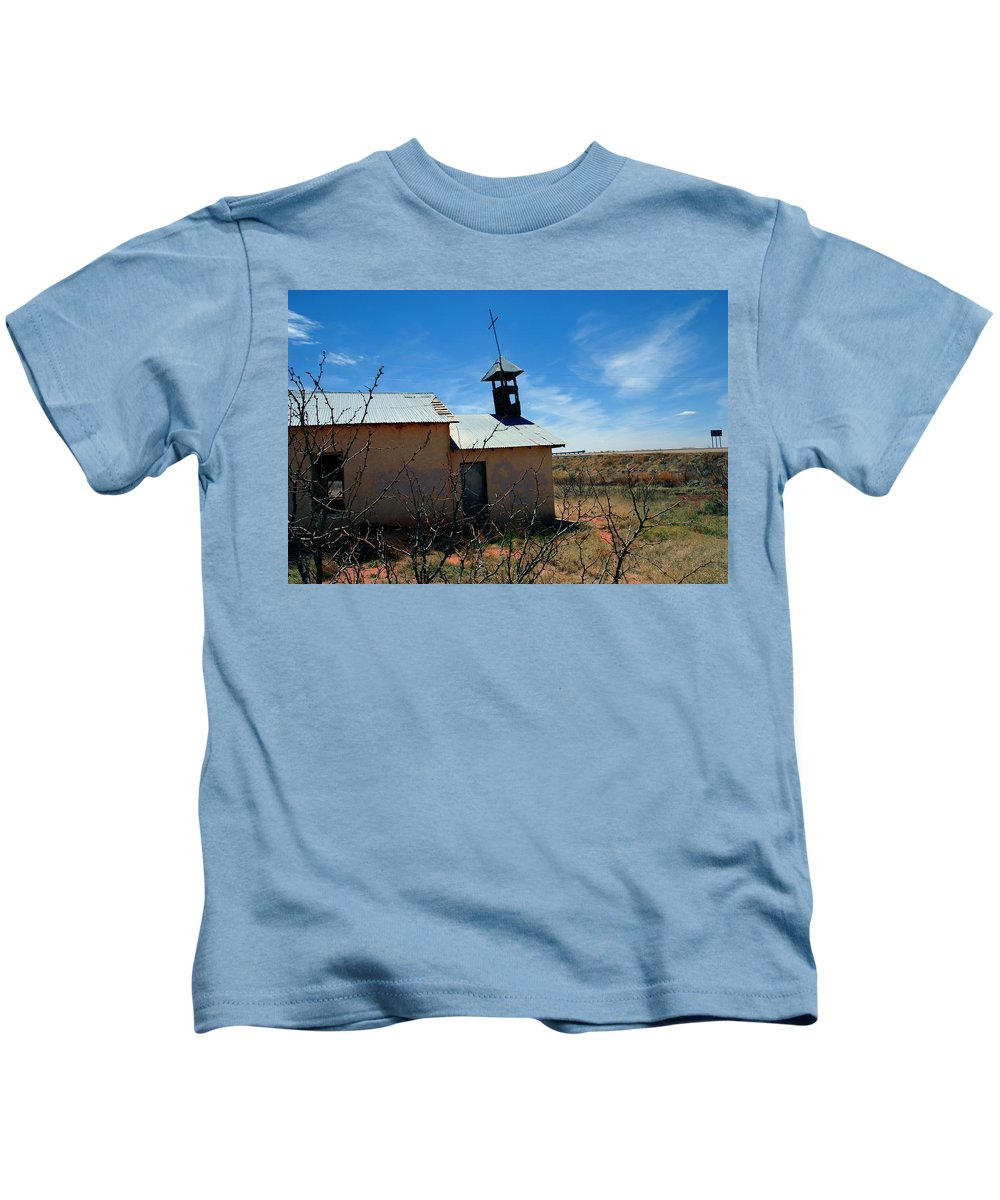 Route 66 Kids T-Shirt featuring the photograph Old Chapel On Route 66 In Newkirk Nm by Susanne Van Hulst