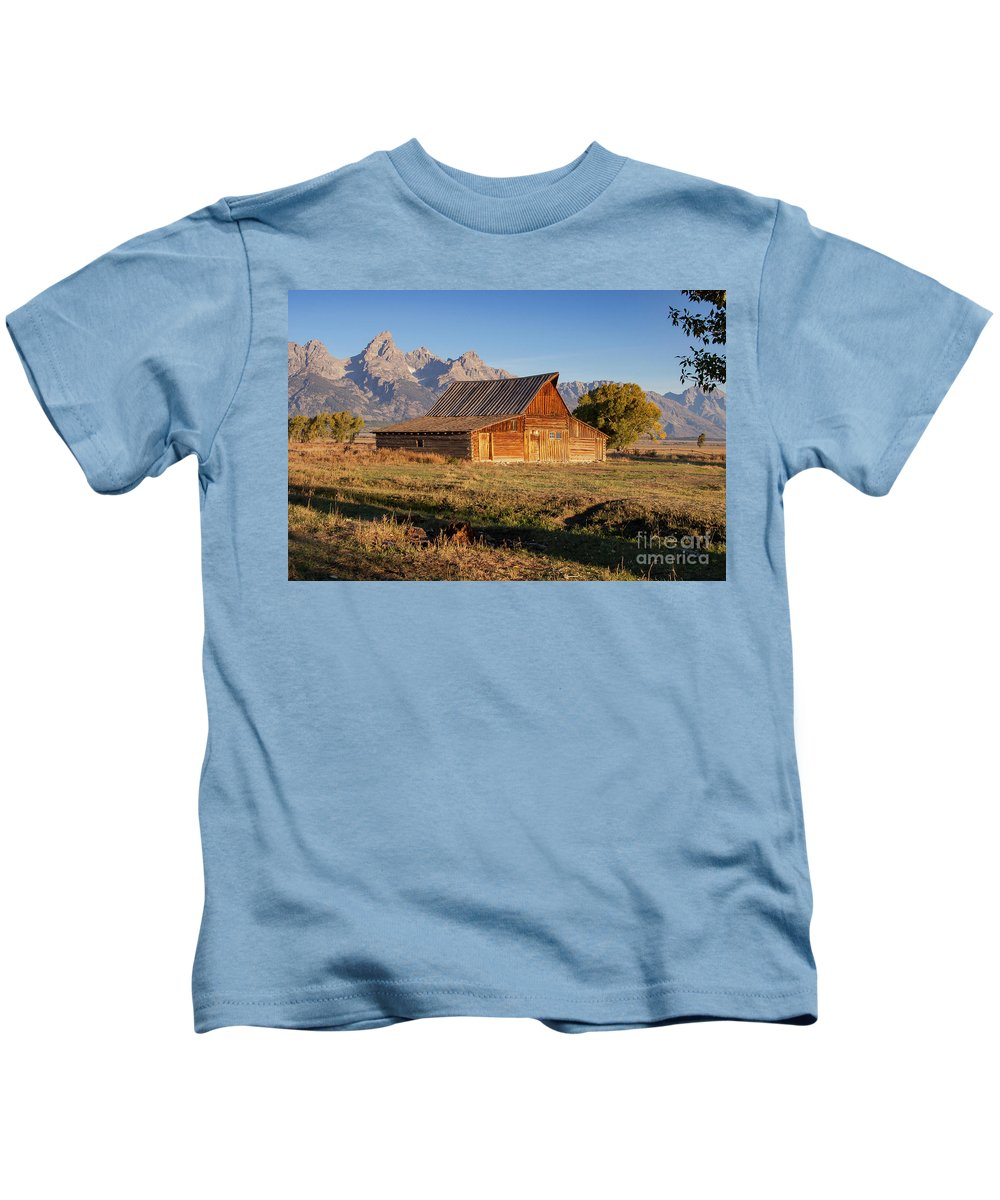 Jackson Hole Kids T-Shirt featuring the photograph Old Mormon Farm by Bob Phillips