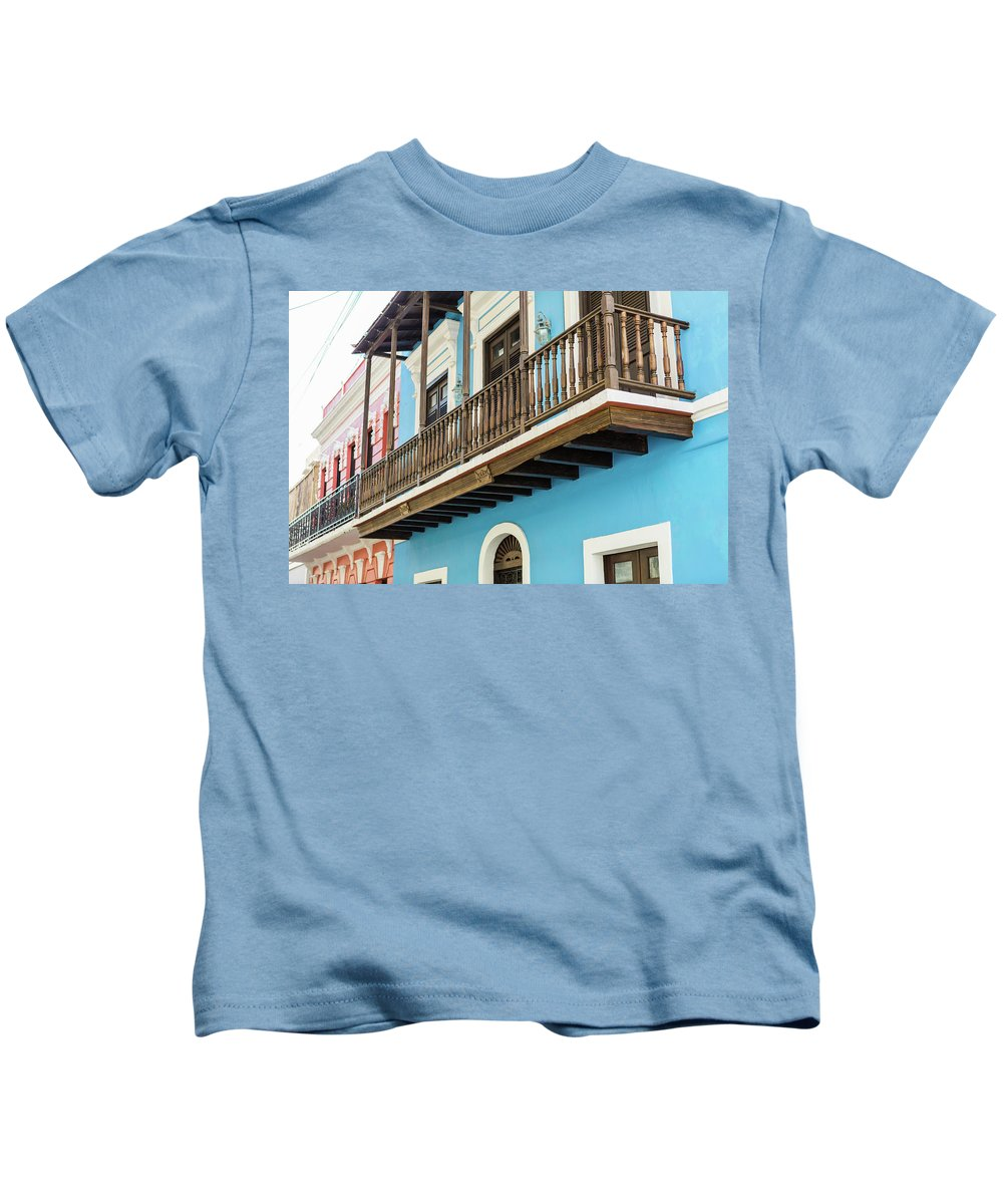 Colorful Kids T-Shirt featuring the photograph Old San Juan Houses In Historic Street In Puerto Rico by Jasmin Burton
