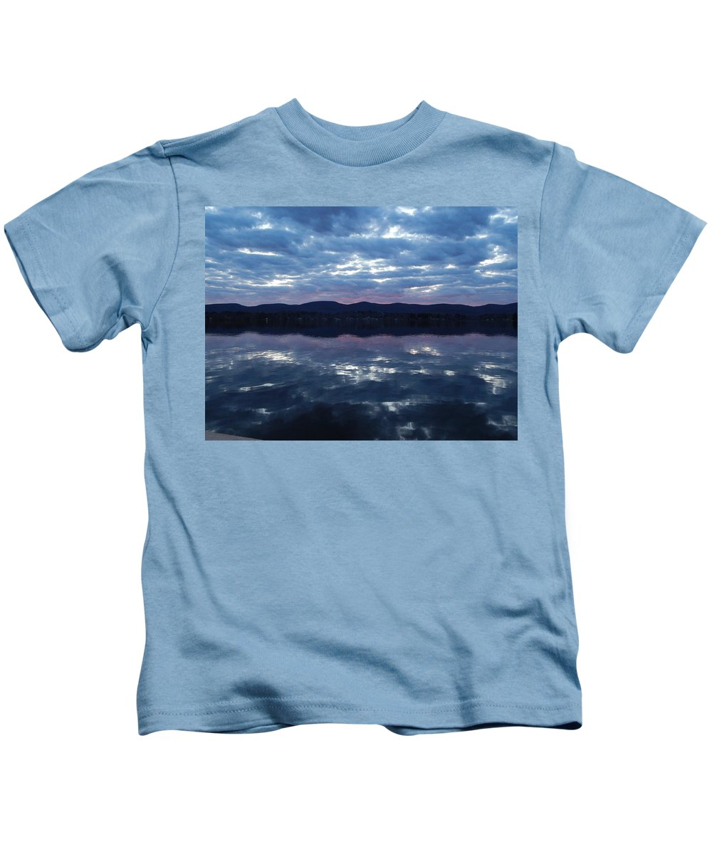 Cloud Kids T-Shirt featuring the photograph On Still Waters by JoAnne Burgess