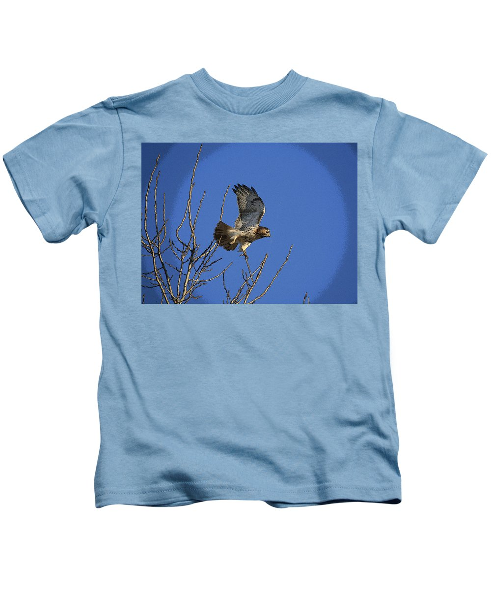 Hawk Kids T-Shirt featuring the photograph On The Move by Robert Pearson