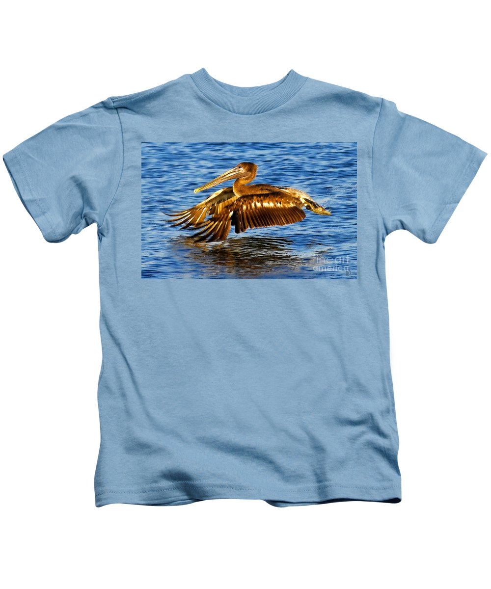 Brown Pelican Kids T-Shirt featuring the painting On The Wing by David Lee Thompson