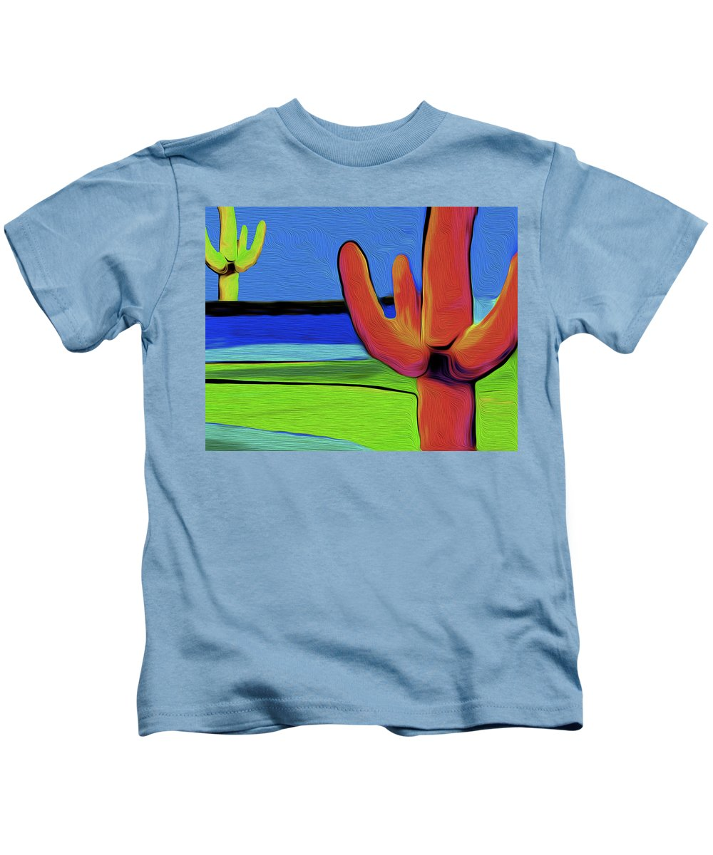 Cactus Kids T-Shirt featuring the painting Orange Cactus By Nixo by Supreme Inc
