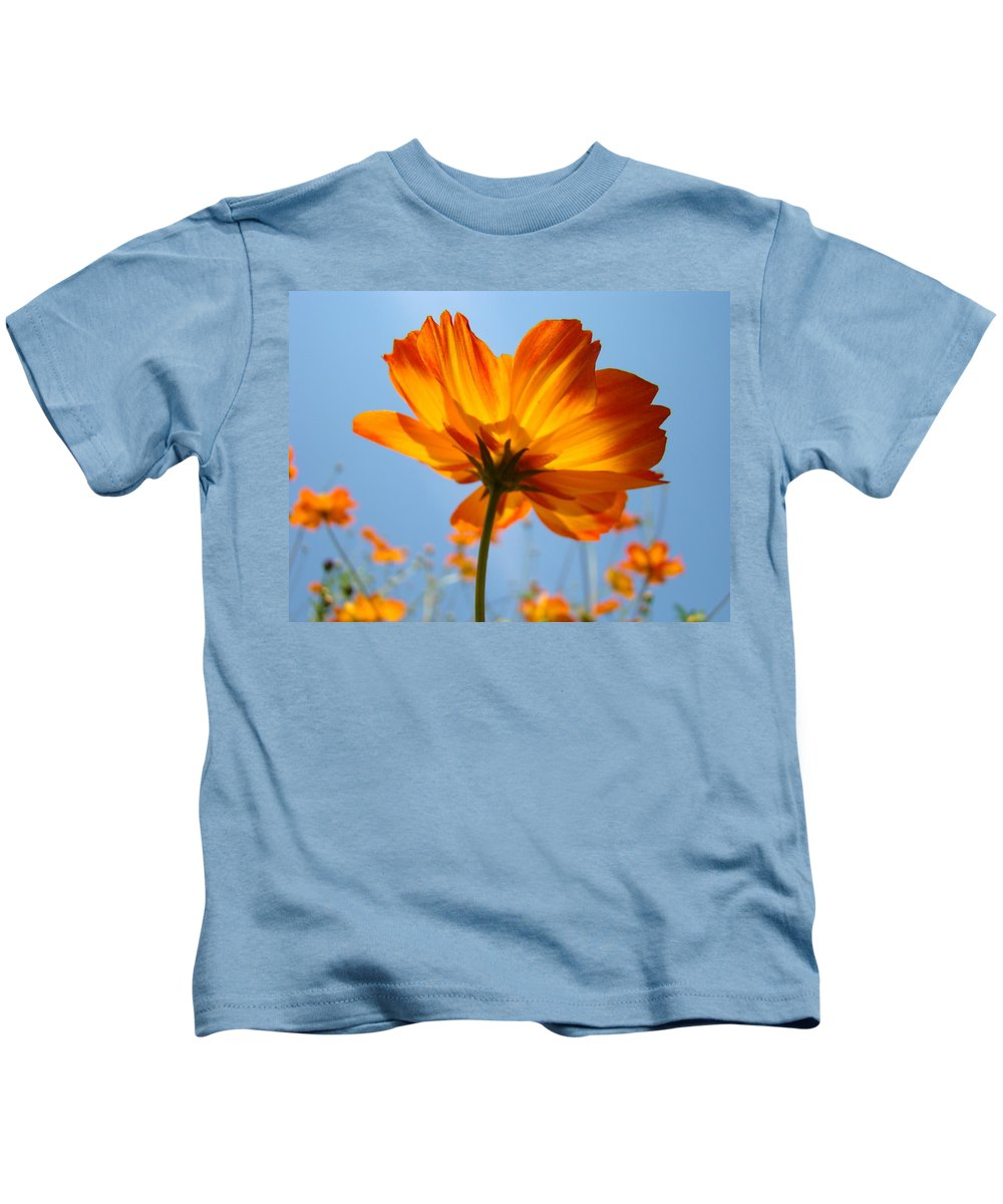 Daisy Kids T-Shirt featuring the photograph Orange Floral Summer Flower Art Print Daisy Type Blue Sky Baslee Troutman by Baslee Troutman