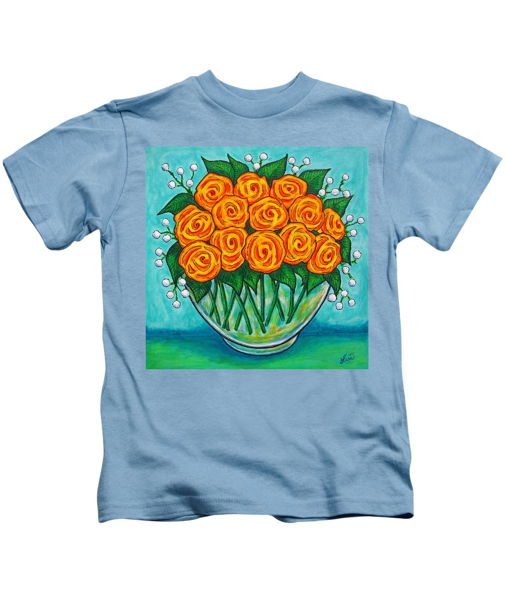 Orange Kids T-Shirt featuring the painting Orange Passion by Lisa Lorenz