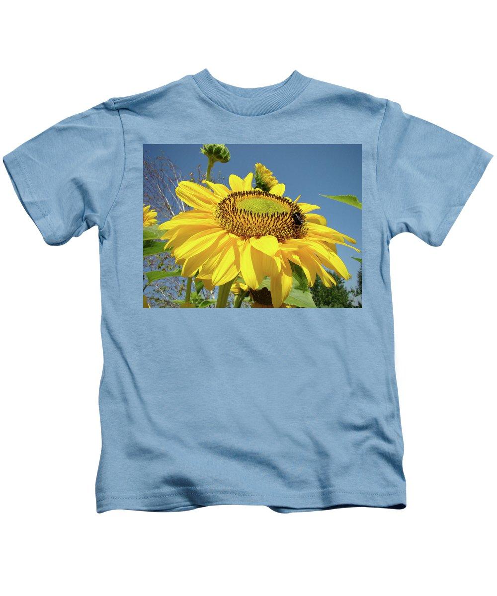 Sunflower Kids T-Shirt featuring the photograph Oregon Gardens Silverton Sunflower Honeybee Baslee by Baslee Troutman