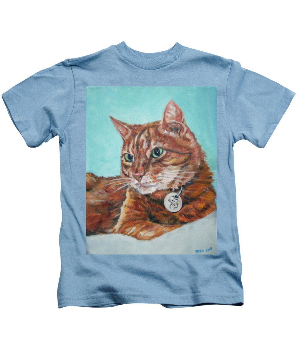 Cat Kids T-Shirt featuring the painting Oscar by Bryan Bustard