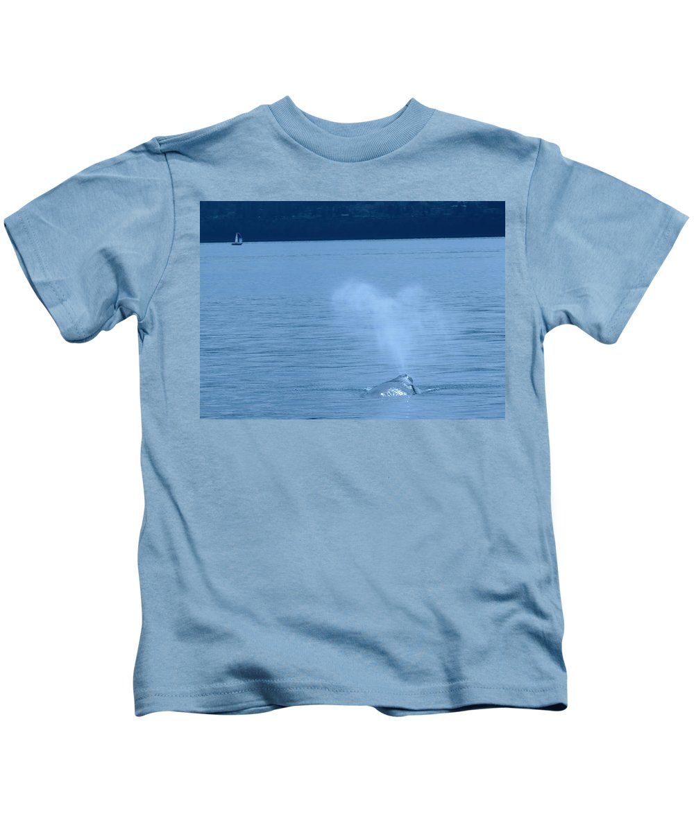 Whales Kids T-Shirt featuring the photograph Out The Blow Hole by Jeff Swan