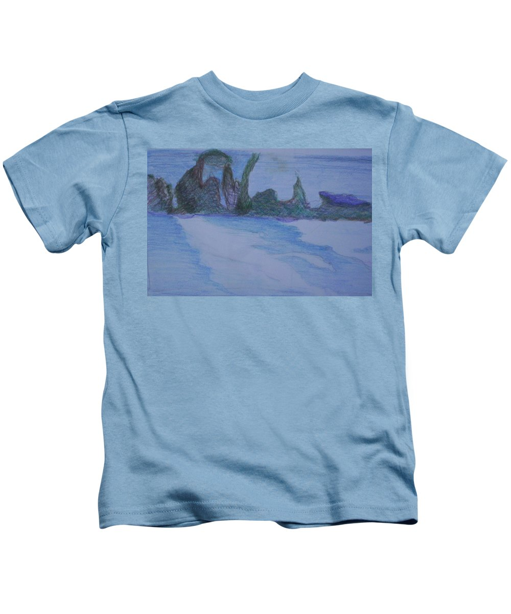 Abstract Painting Kids T-Shirt featuring the painting Overlap by Suzanne Udell Levinger