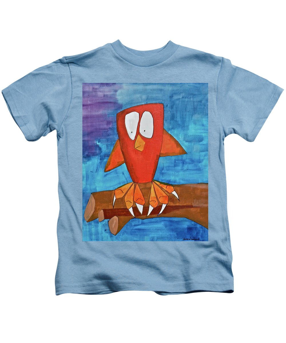 Pets Kids T-Shirt featuring the painting Owel by Donna Howard
