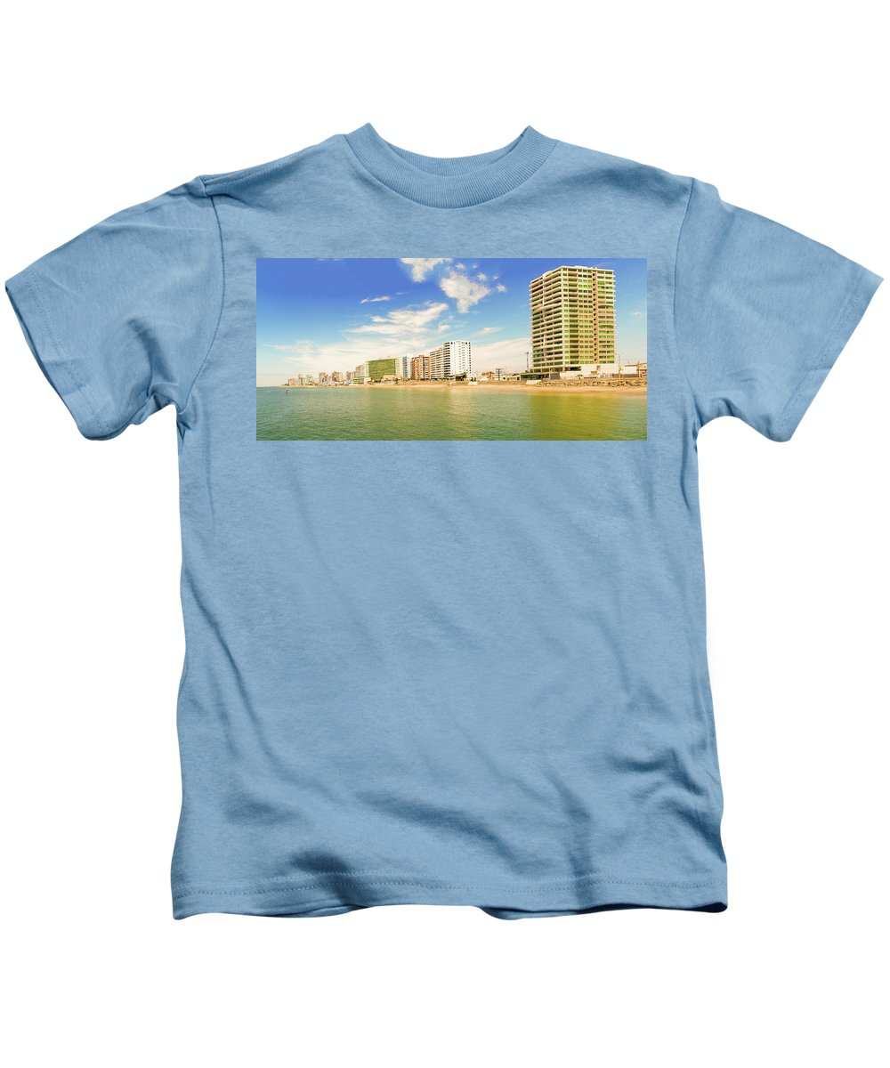 Salinas Kids T-Shirt featuring the photograph Pacific Ocean Beach In Salinas, Ecuador by Marek Poplawski