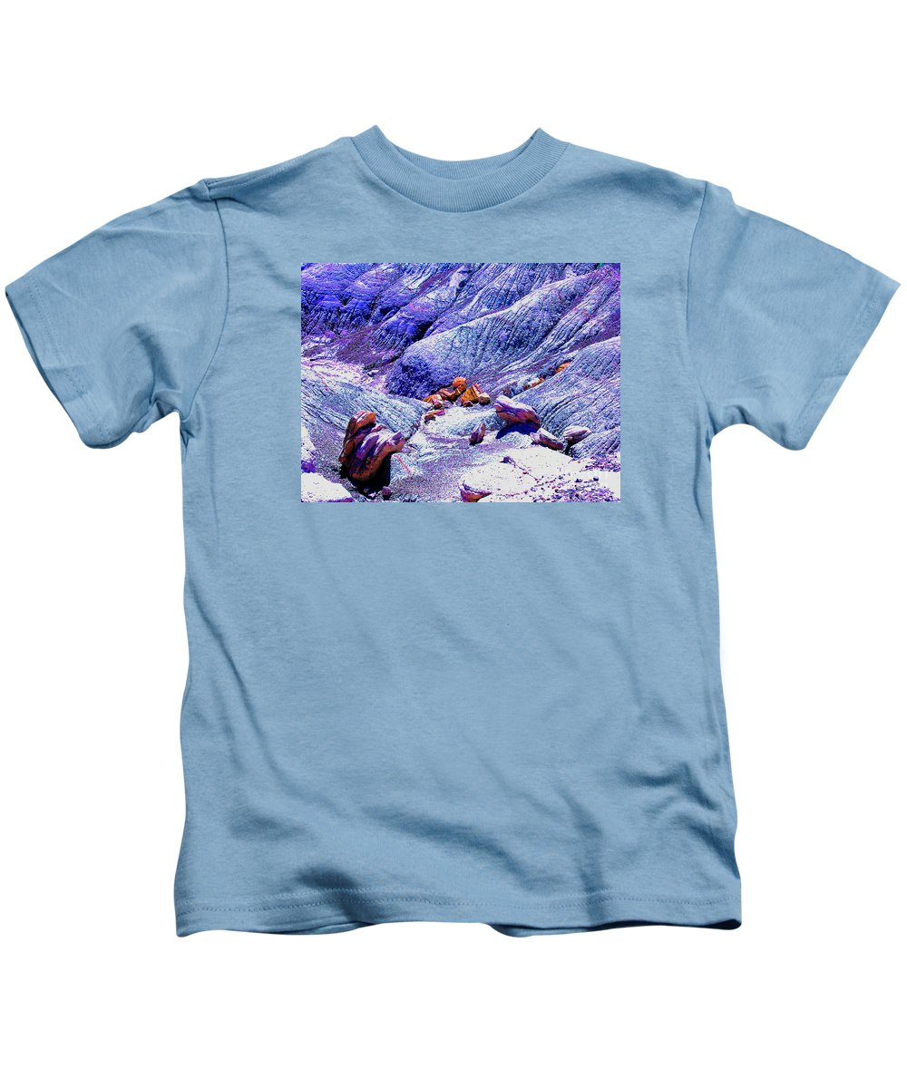 Painted Desert Kids T-Shirt featuring the photograph Painted Desert With Petrified Wood - Arizona by Merton Allen