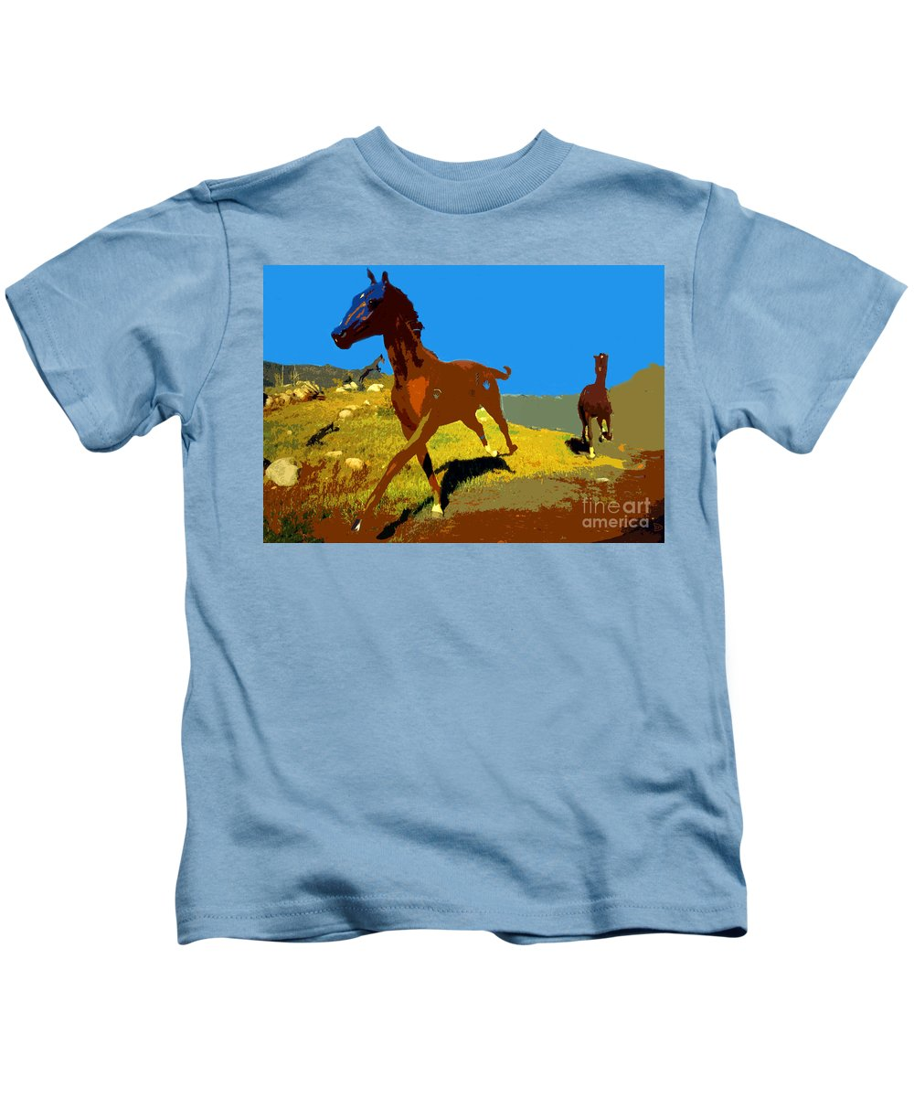 Horses Kids T-Shirt featuring the painting Painted War Horses by David Lee Thompson