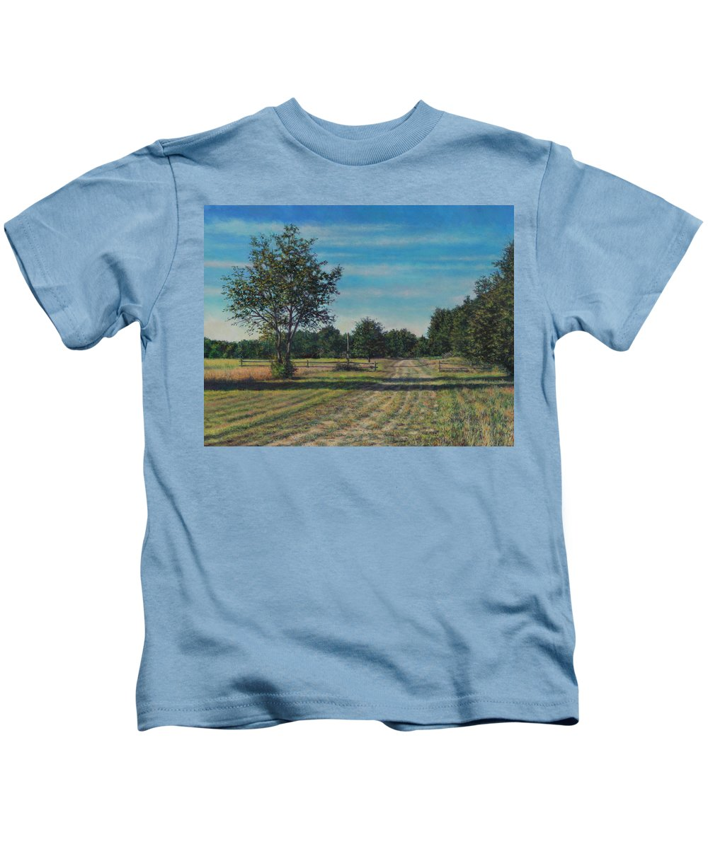 Pastoral Kids T-Shirt featuring the painting Pastoral Off Poplar Hill Road by David P Zippi