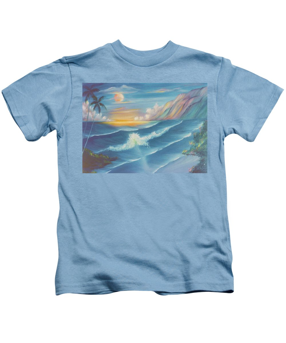 Waves Kids T-Shirt featuring the painting Pau Hana by Dina Holland