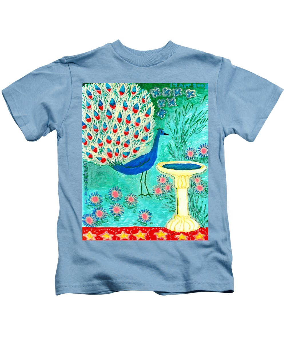 Sue Burgess Kids T-Shirt featuring the painting Peacock And Birdbath by Sushila Burgess