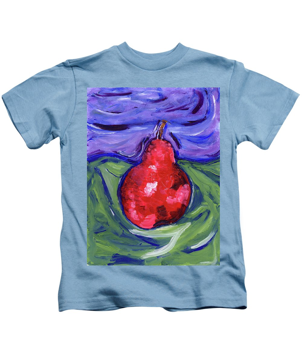 Pear Kids T-Shirt featuring the painting Pear Portrait by Christopher O'Kelley