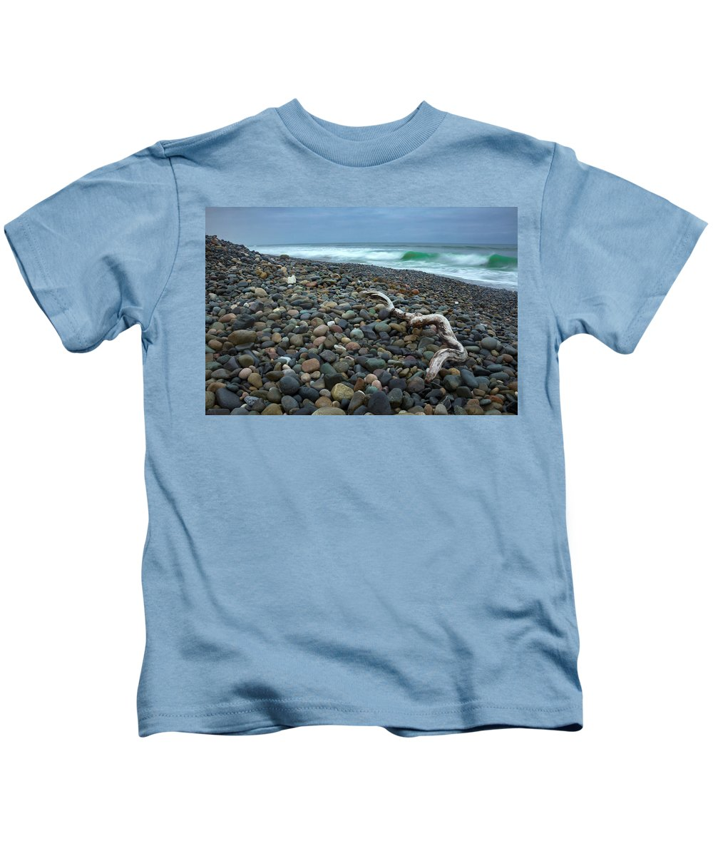 Beach Kids T-Shirt featuring the photograph Pebbled Shore by Jonathan Tran