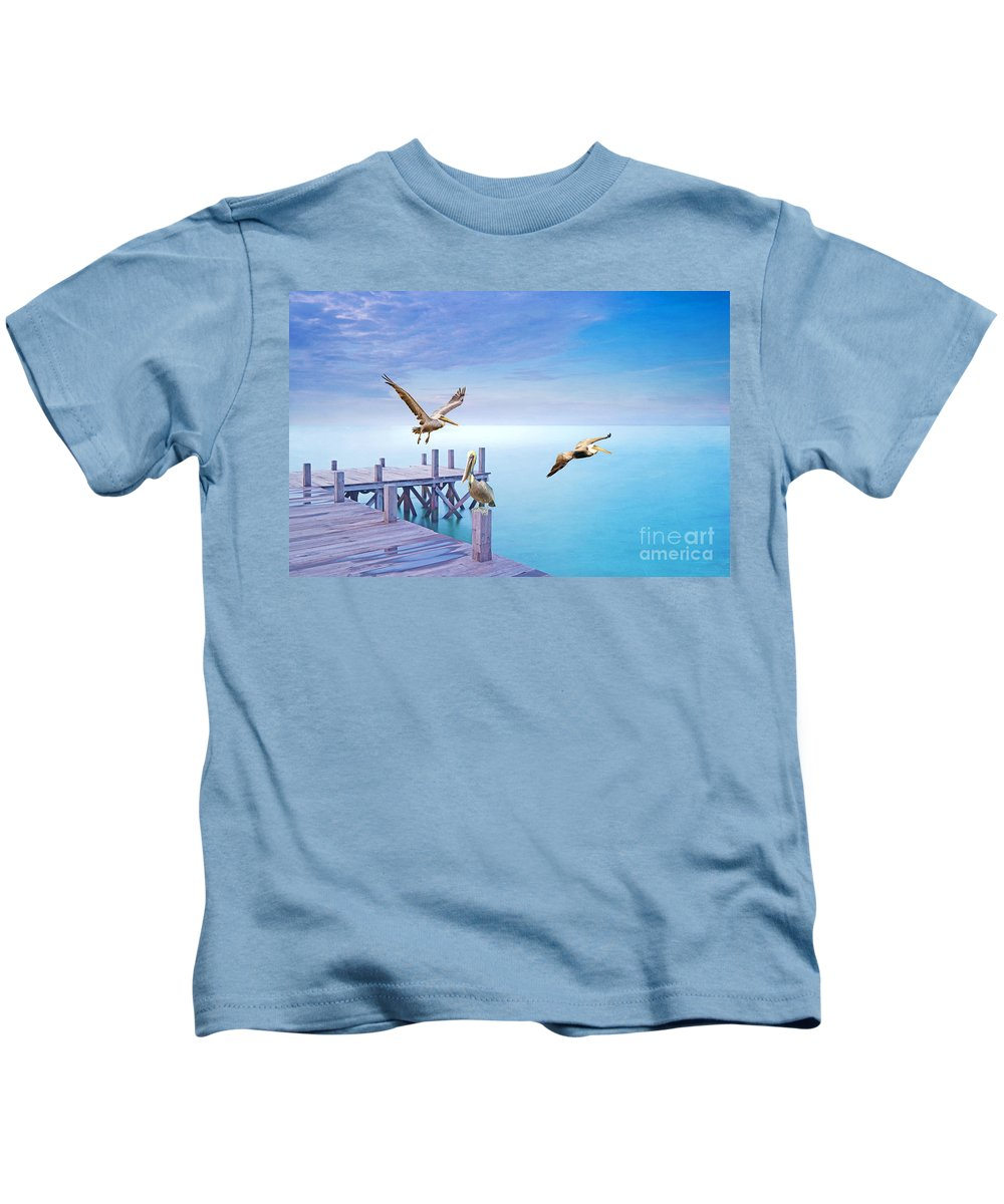 Brown Pelicans Kids T-Shirt featuring the photograph Pelican Party by Laura D Young