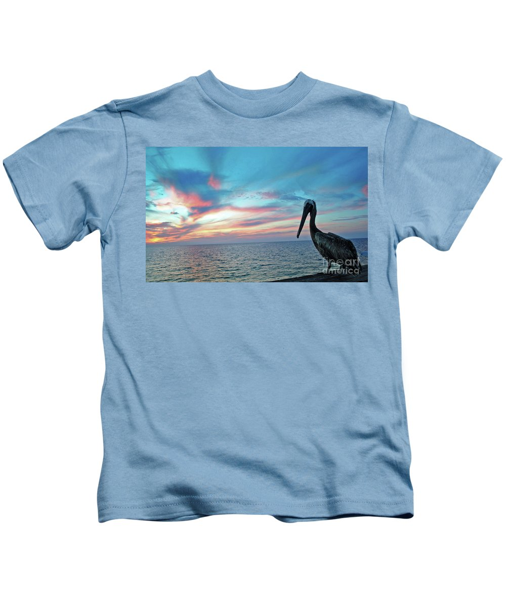 Pelican Kids T-Shirt featuring the photograph Pelican Sunset by Jost Houk