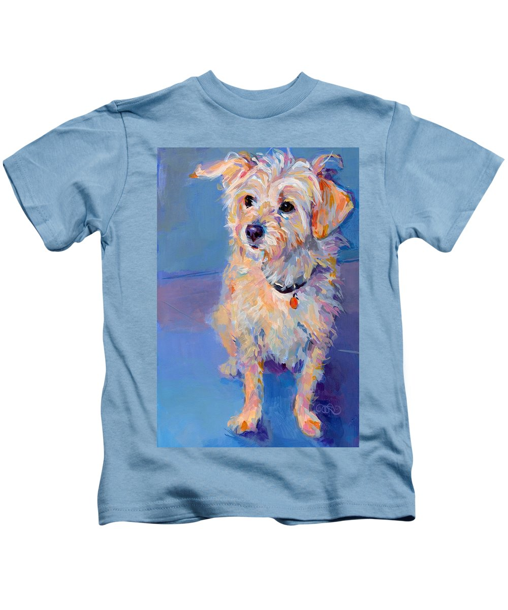Terrier Kids T-Shirt featuring the painting Penny Peach by Kimberly Santini