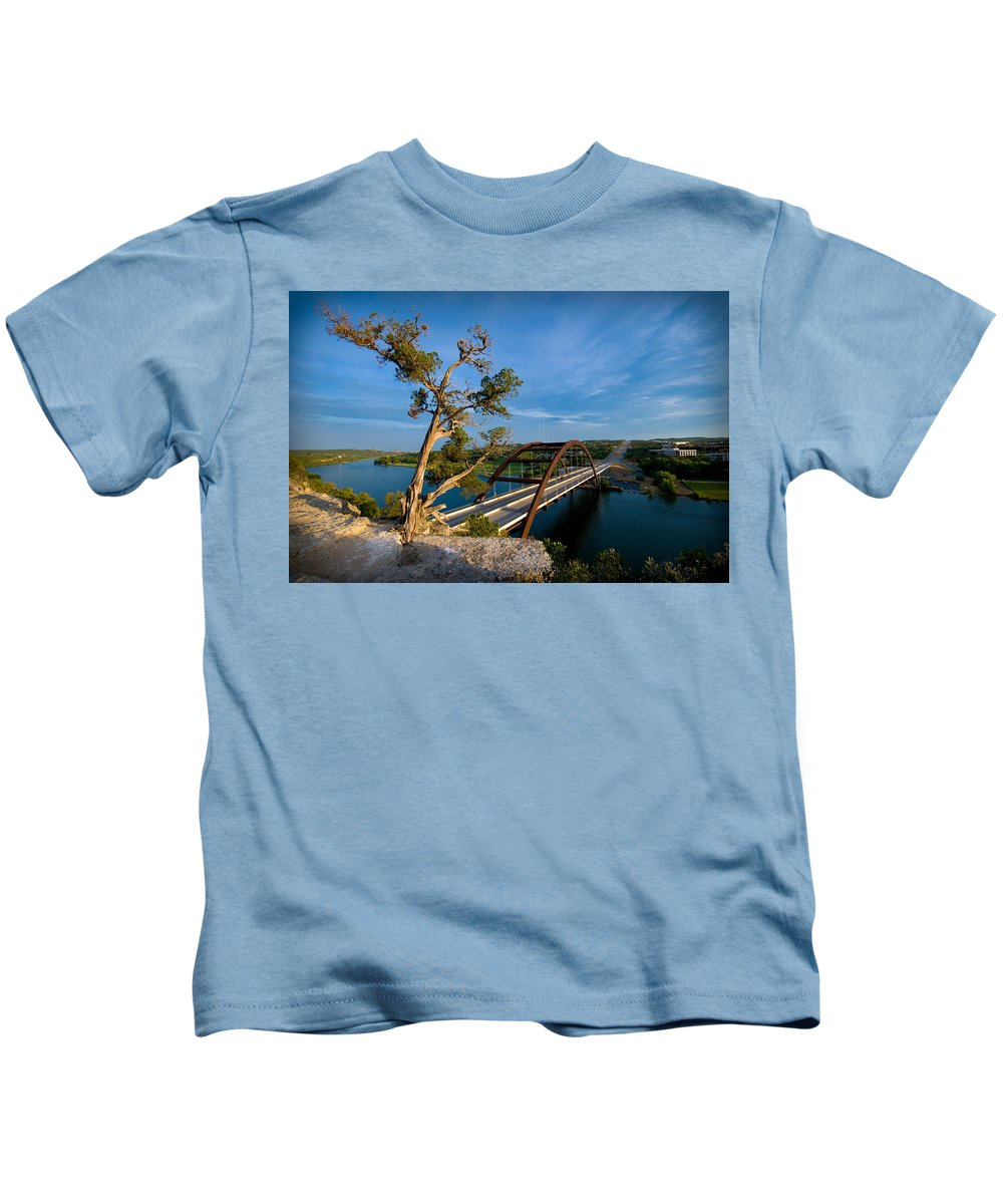 360 Bridge Kids T-Shirt featuring the photograph Pennybacker Bridge 2 by Sean Wray